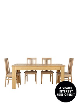 consort-belvoir-ready-assembled-170-213-cm-extending-dining-table-4-chairs