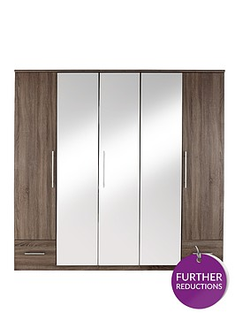 cologne-5-door-2-drawer-mirrored-wardrobe