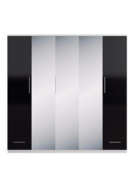 cologne-gloss-5-door-2-drawer-mirrored-wardrobe