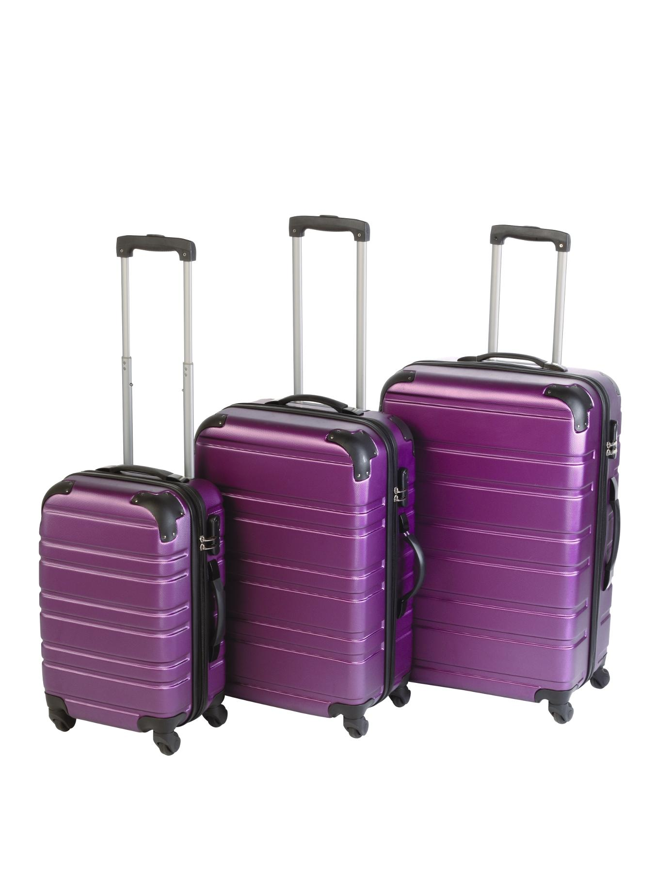 3-Piece ABS Luggage Set - Plum