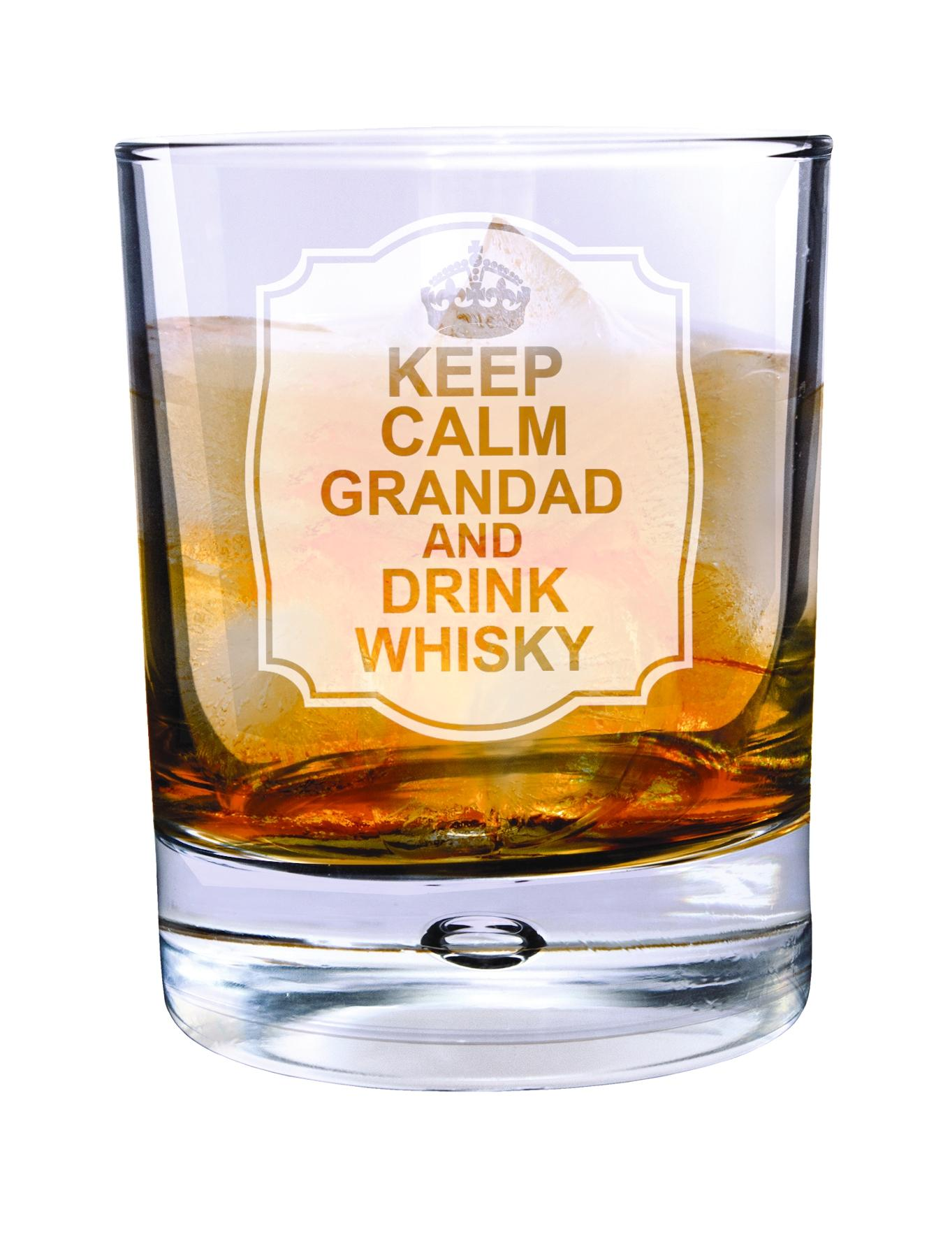 Personalised Keep Calm Drink Whisky Bubble Glass