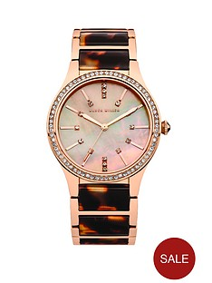 karen-millen-mop-dial-tortoise-shell-and-stainless-steel-ladies-watch