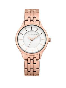 french-connection-white-dial-and-rose-gold-tone-bracelet-ladies-watch