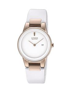 citizen-eco-drive-rose-gold-stainless-steel-case-white-leather-strap-ladies-watch