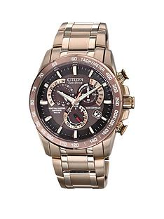 citizen-eco-drive-perpetual-chronograph-at-brown-dial-and-rose-gold-coloured-stainless-steel-bracelet-mens-watch