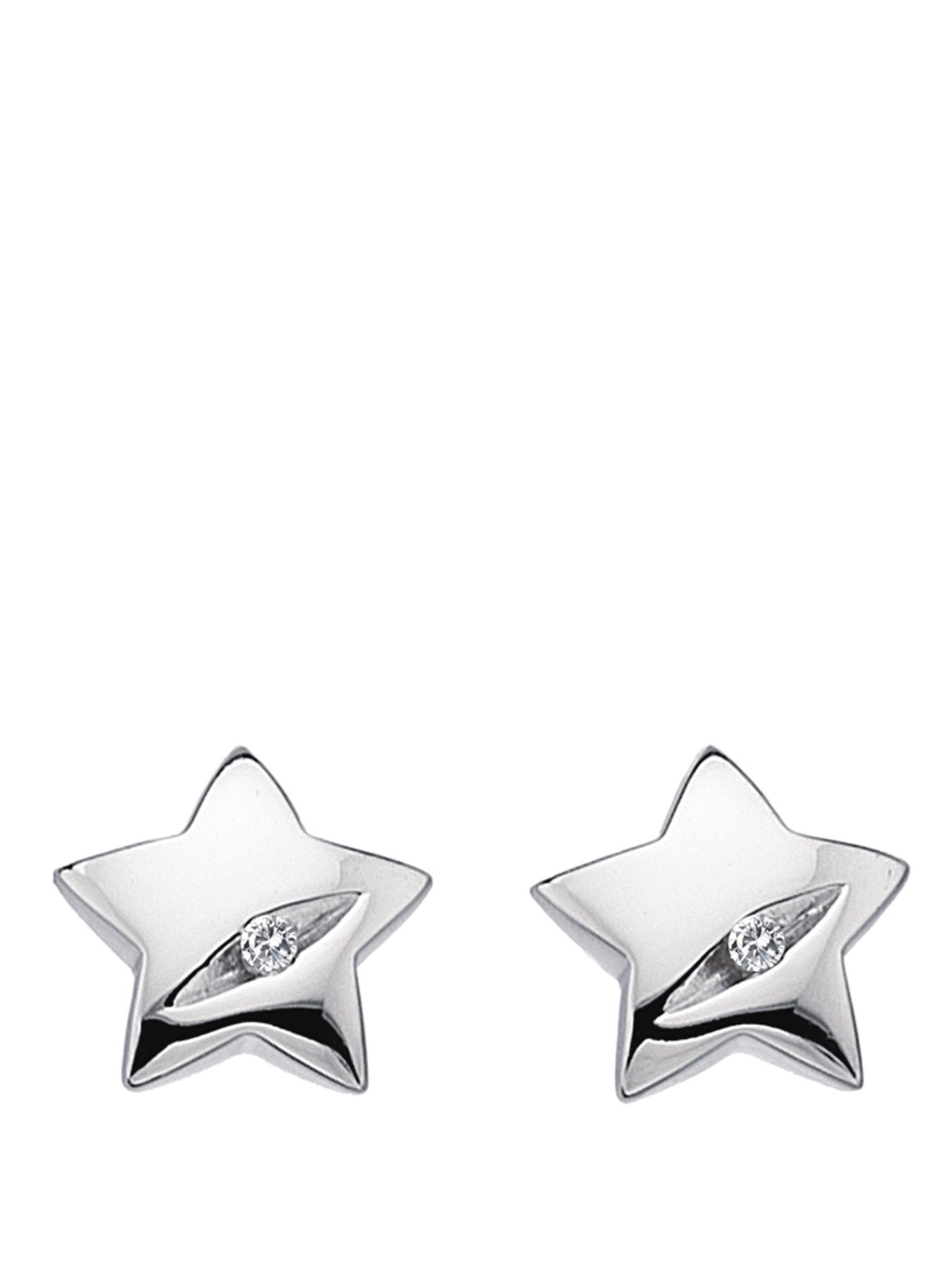 Shooting Star Sterling Silver and Diamond Star Earrings