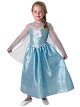 Girls Deluxe Elsa Snow Queen Kids Fancy Dress Costume