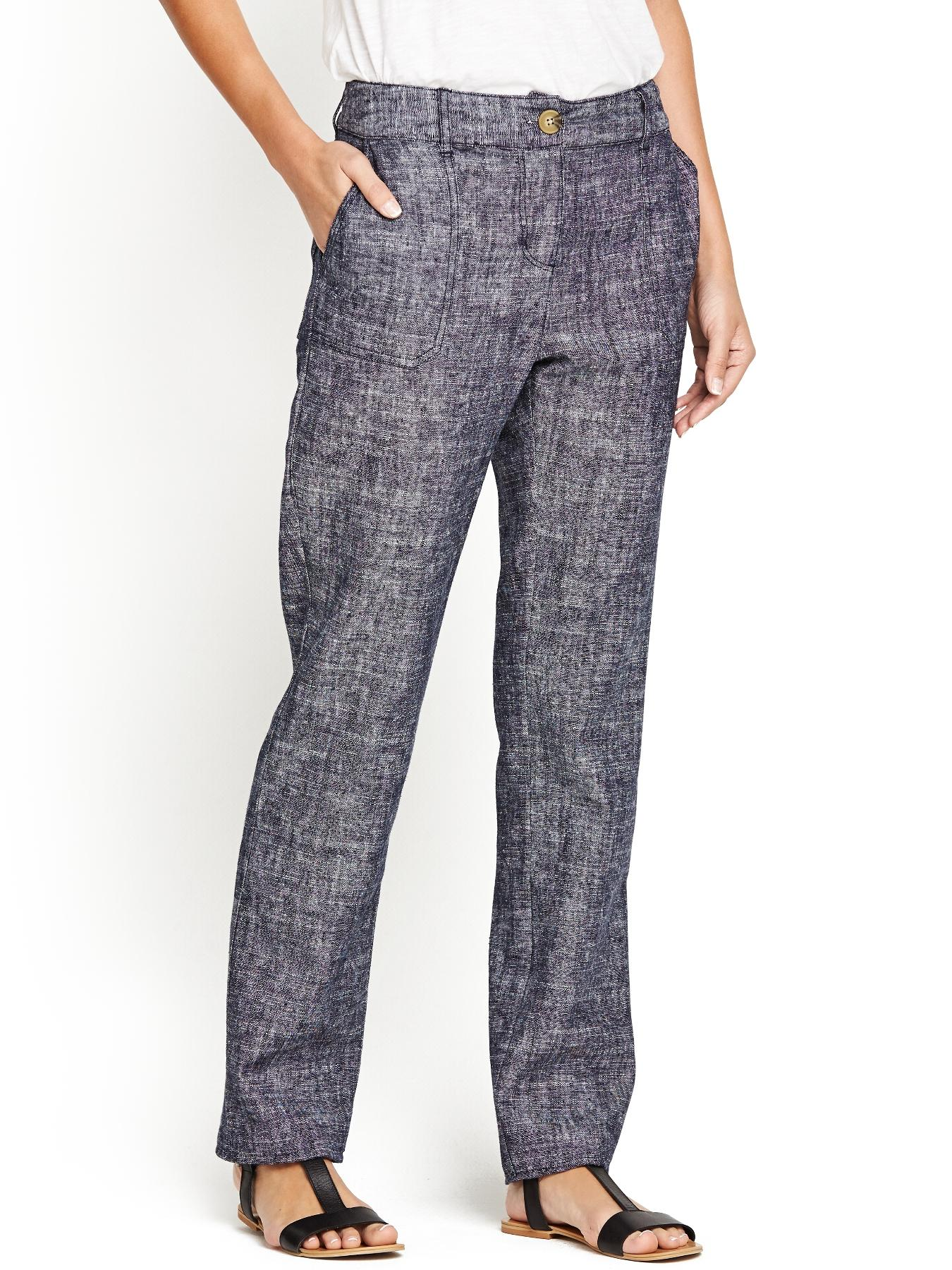 Textured Linen Trousers, Grey,Navy