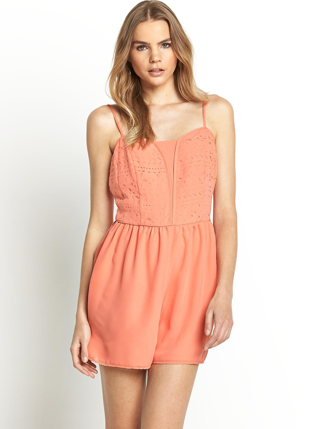 Cut Out Playsuit, Coral