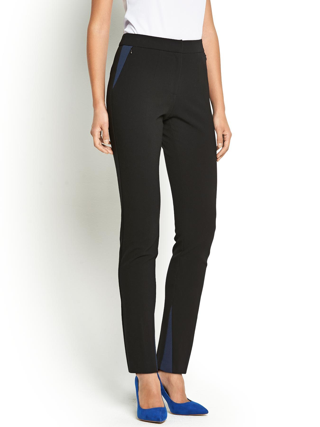 Colour Block Mesh Panel Skinny Trousers, Black