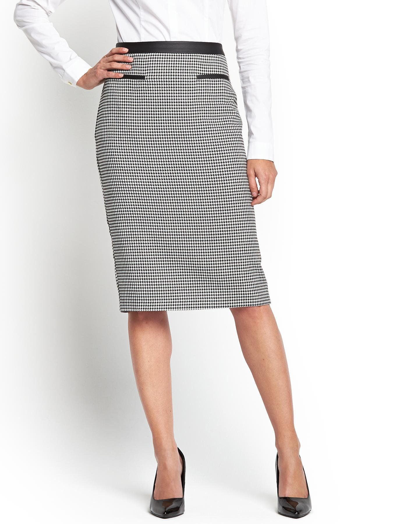 PVL Panelled Pencil Skirt, Grey,Black