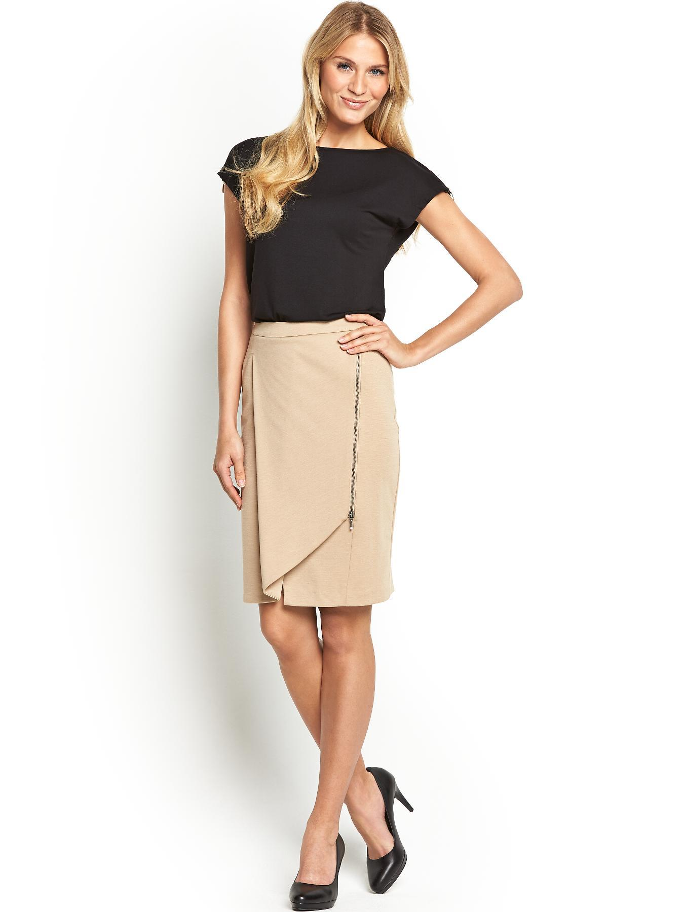 Ponte Waterfall Skirt, Black
