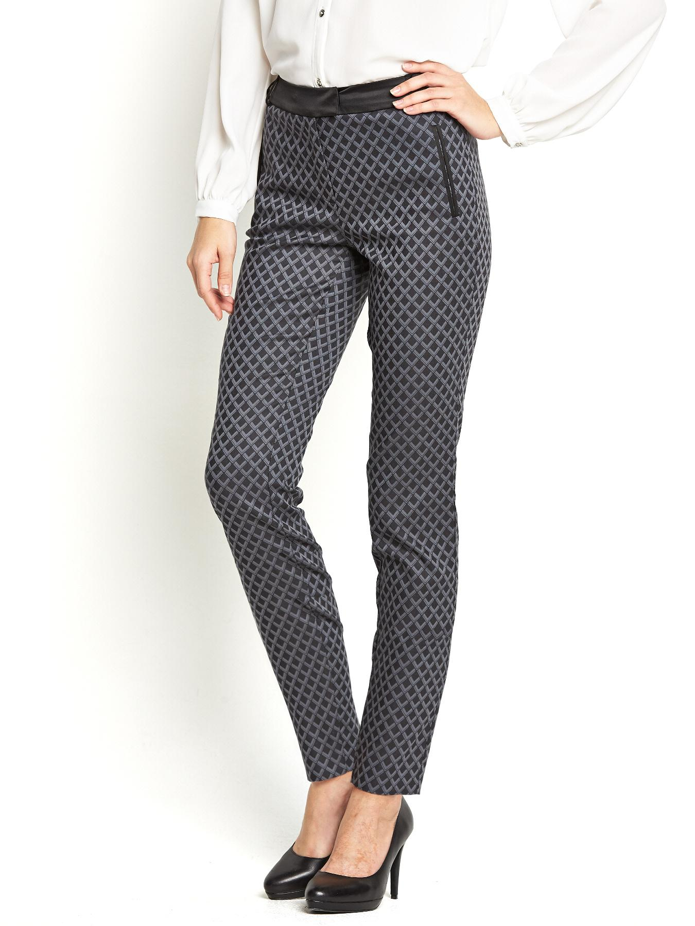 Jacquard 7/8 Crop Trousers, Black