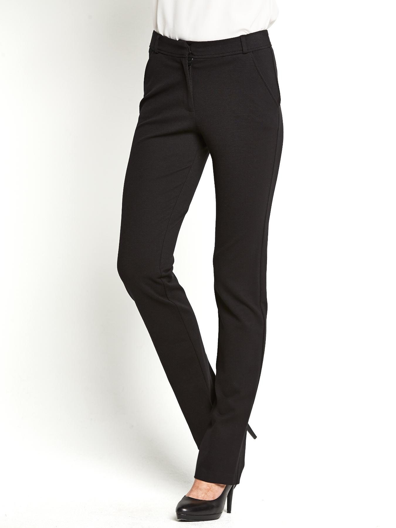 Ponte Straight Trousers, Black