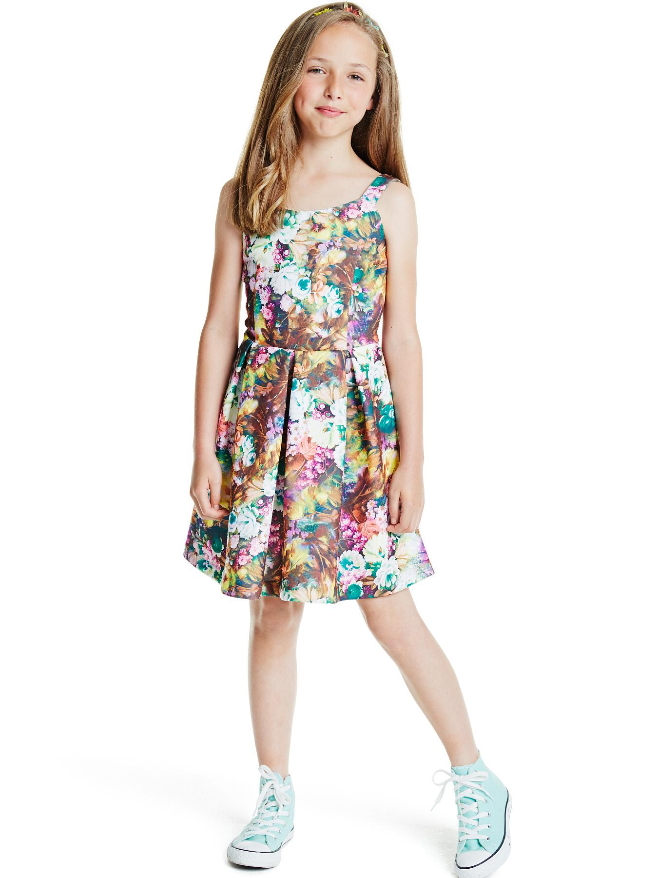 Girls Scuba Floral Strappy Dress.