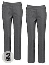 Girls Pull On Embellished Trousers (2 Pack)