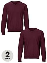Essential Cotton V-neck Jumpers (2 Pack)