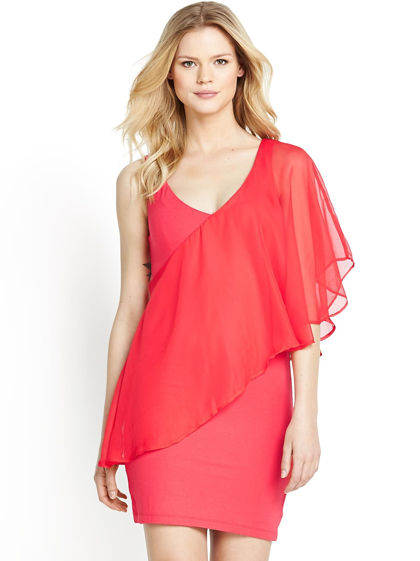 Asymmetric Frill Jersey Woven Tunic, Red,Black