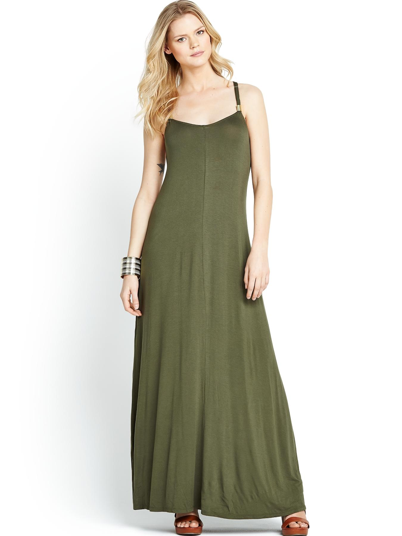 Metal Strap Detail Maxi Dress, Black,Khaki