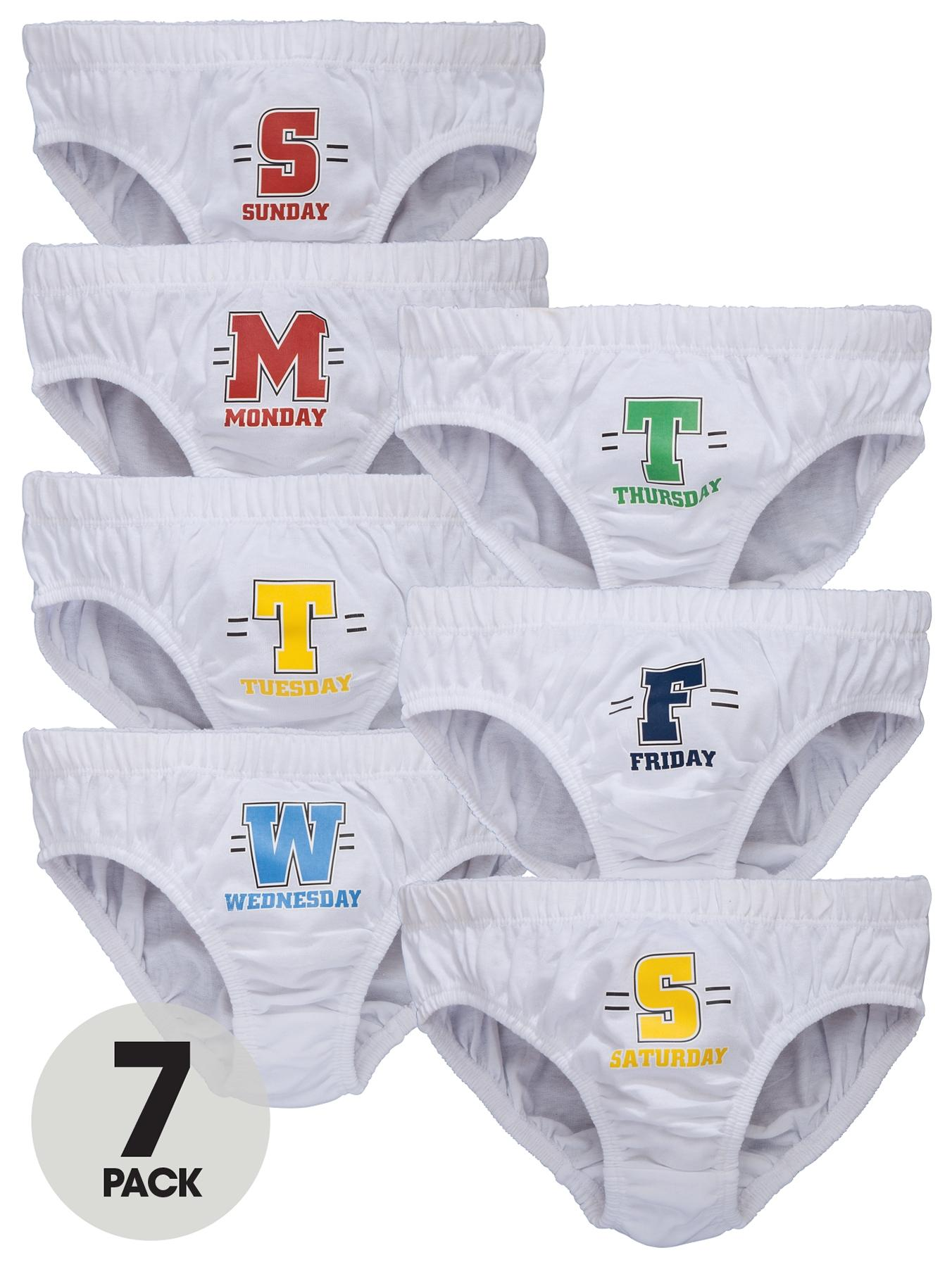 Boys Days of the Week Briefs (7 Pack), White at Littlewoods