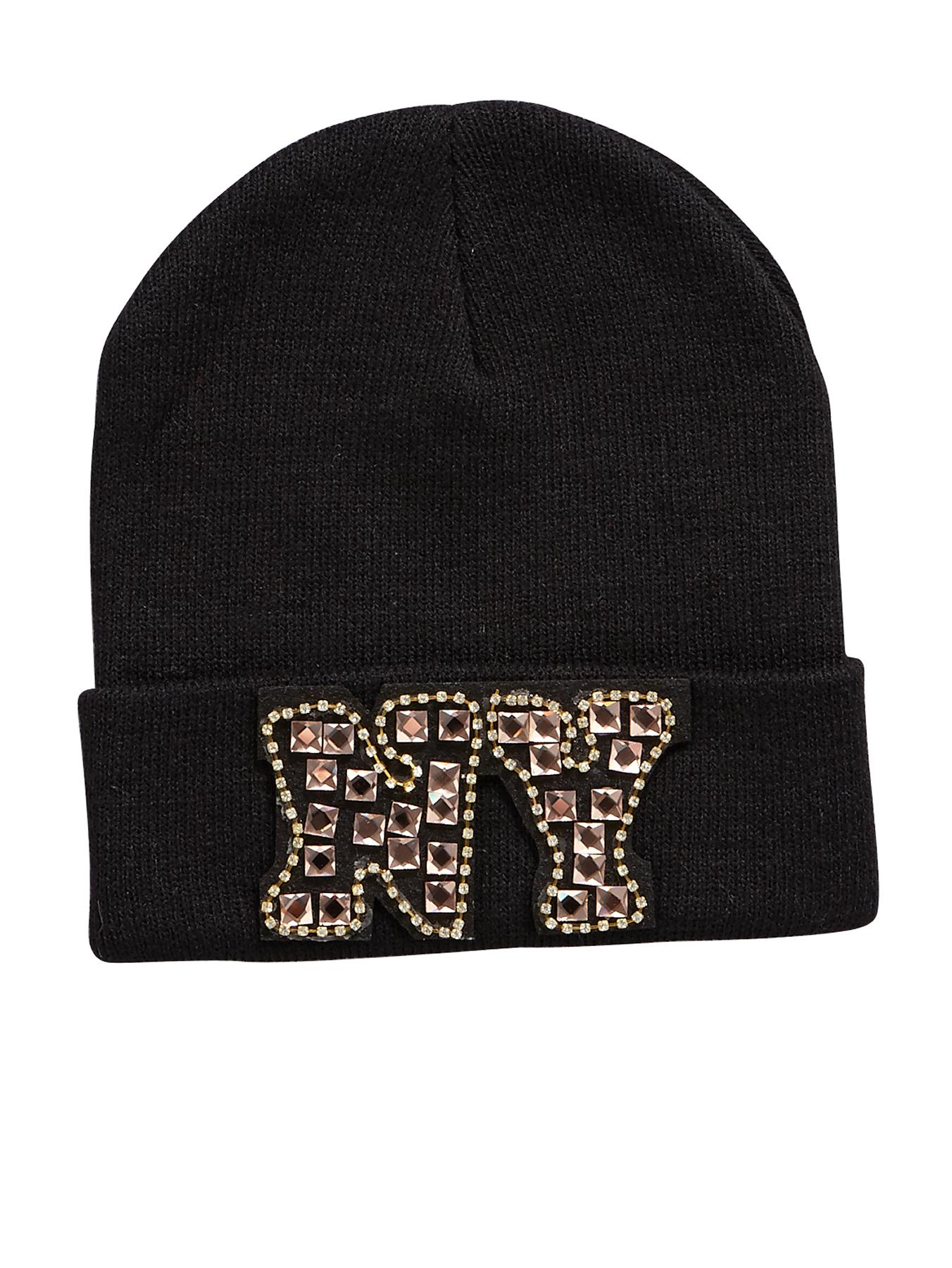 Embellished NY Beanie, Black at Littlewoods