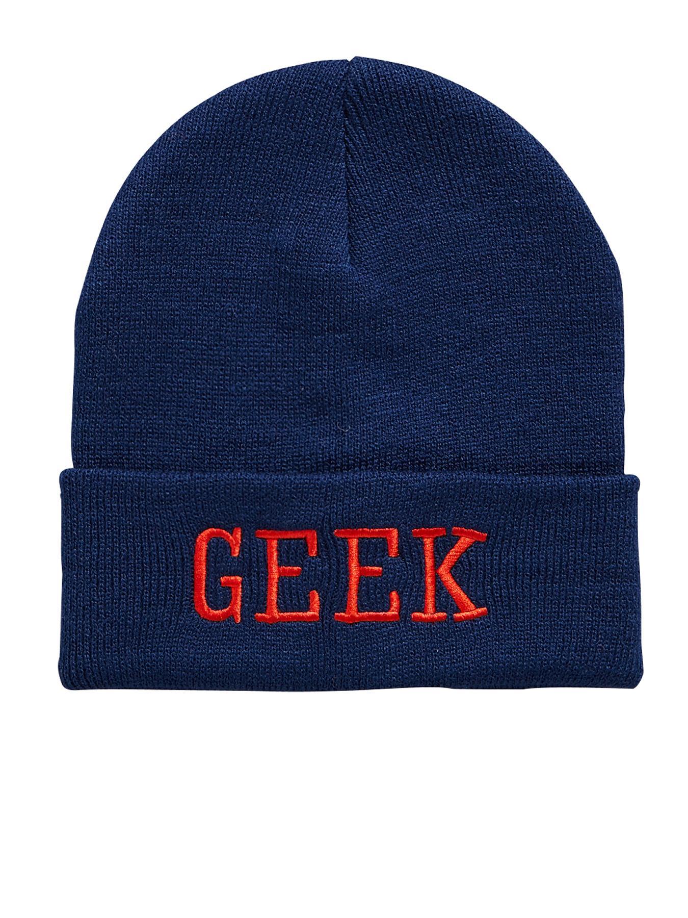 Slogan Beanie - Geek, Navy at Littlewoods