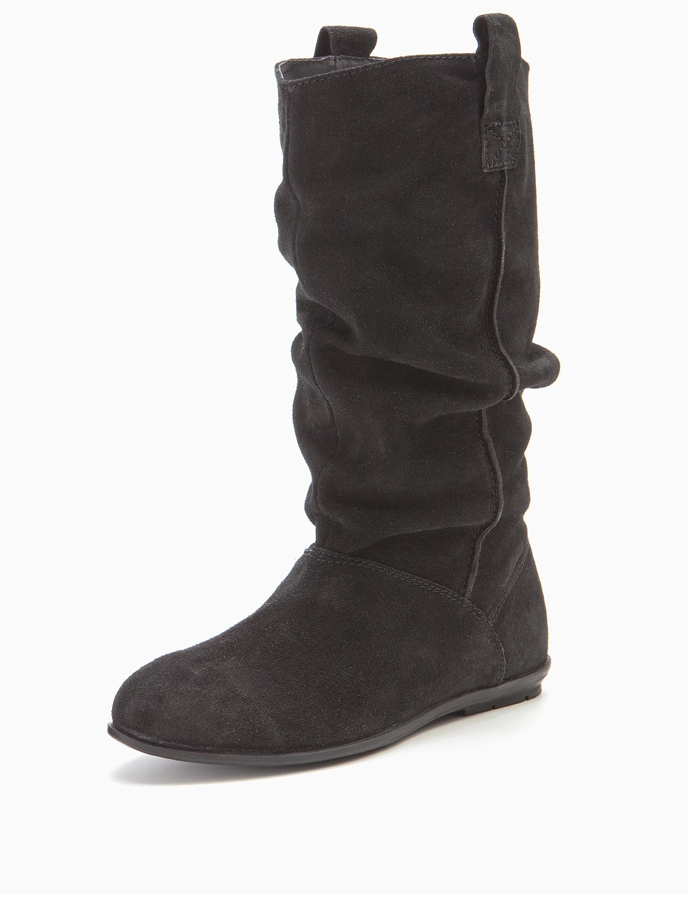 Moran Suede Slouch Calf Boots Black