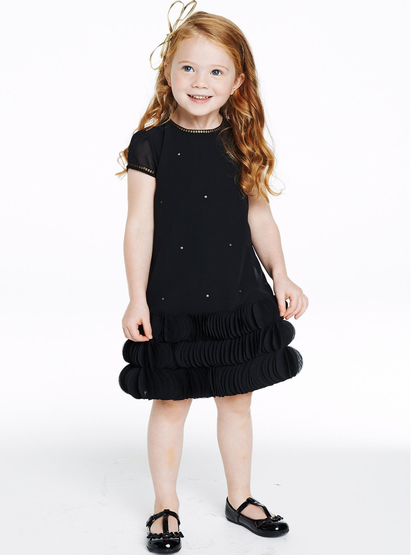 Ruffle Dress with Hairband, Black.