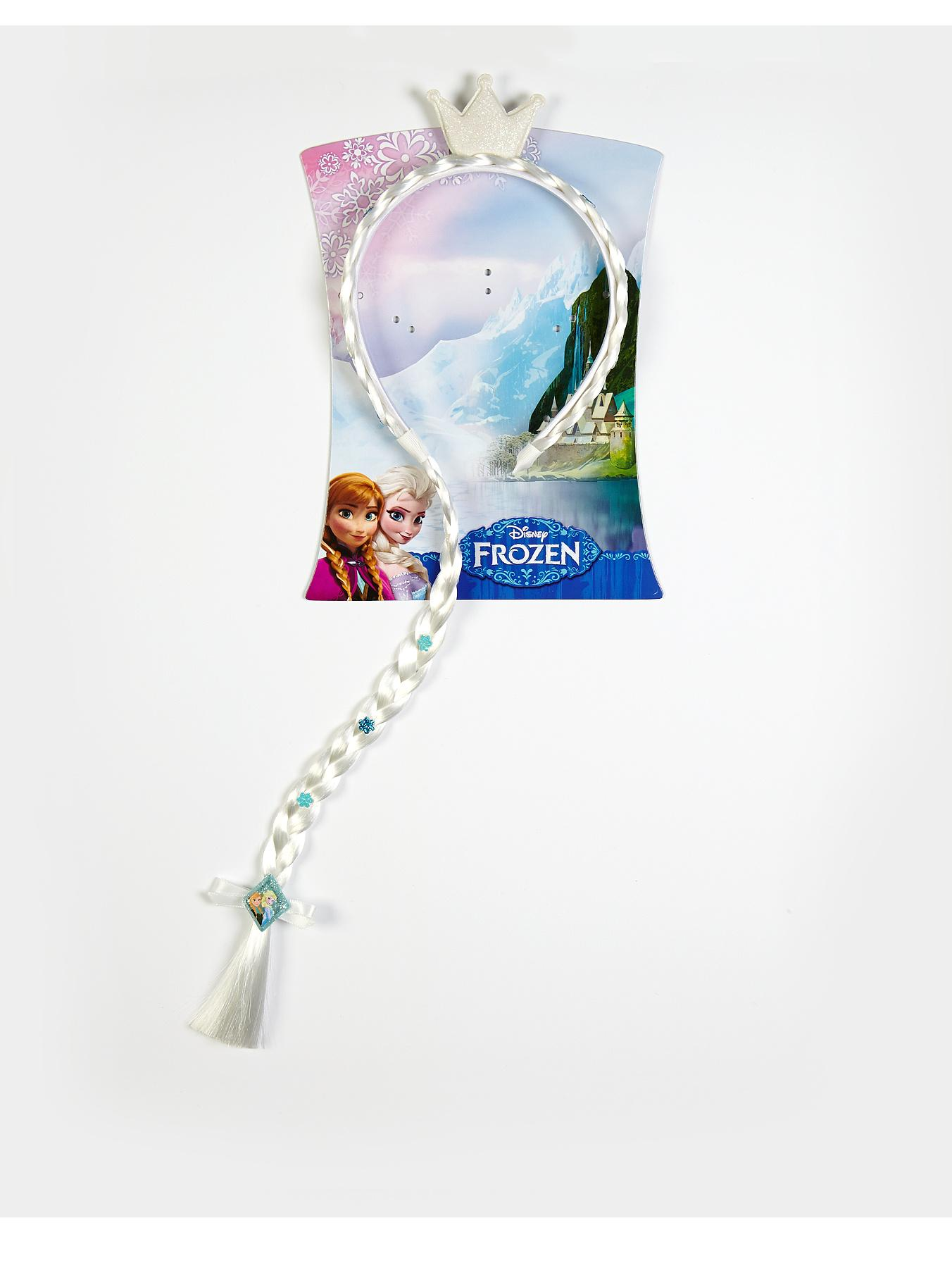 Frozen Elsa Tiara Headband with Hair, White