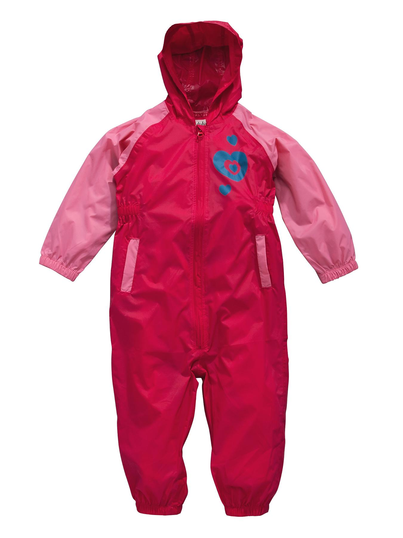 Girls Heart Puddlesuit, Pink at Littlewoods