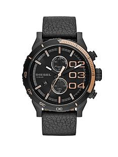 diesel-double-down-rose-gold-and-black-dial-with-black-leather-strap-mens-watch