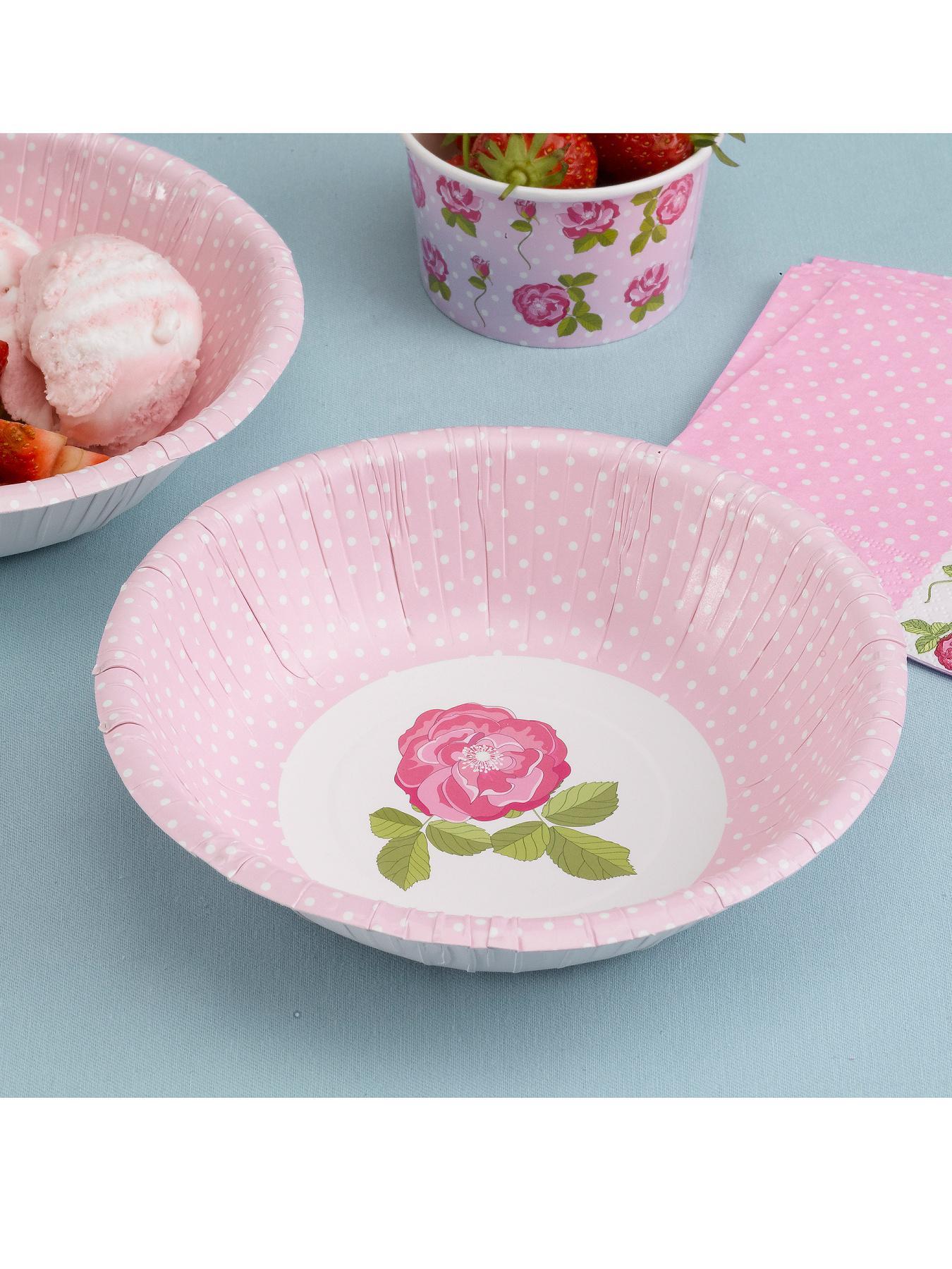 Vintage Rose Paper Party Bowls at Littlewoods