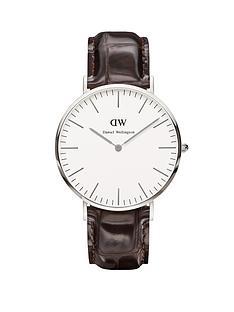 daniel-wellington-silver-tone-croc-brown-leather-strap-mens-watch
