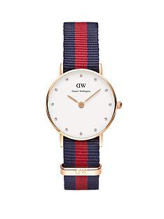 daniel-wellington-rose-gold-tone-case-coloured-strap-ladies-watch