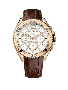 tommy-hilfiger-brown-leather-ionic-rose-plated-steel-mens-watch