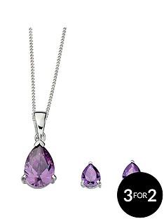sterling-silver-amethyst-cubic-zirconia-teardrop-earring-and-pendant-set