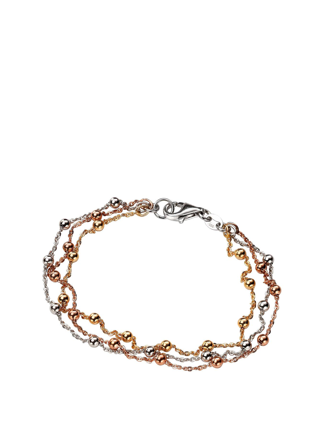 Sterling Silver 3 Colour Twist and Bead Bracelet at Littlewoods