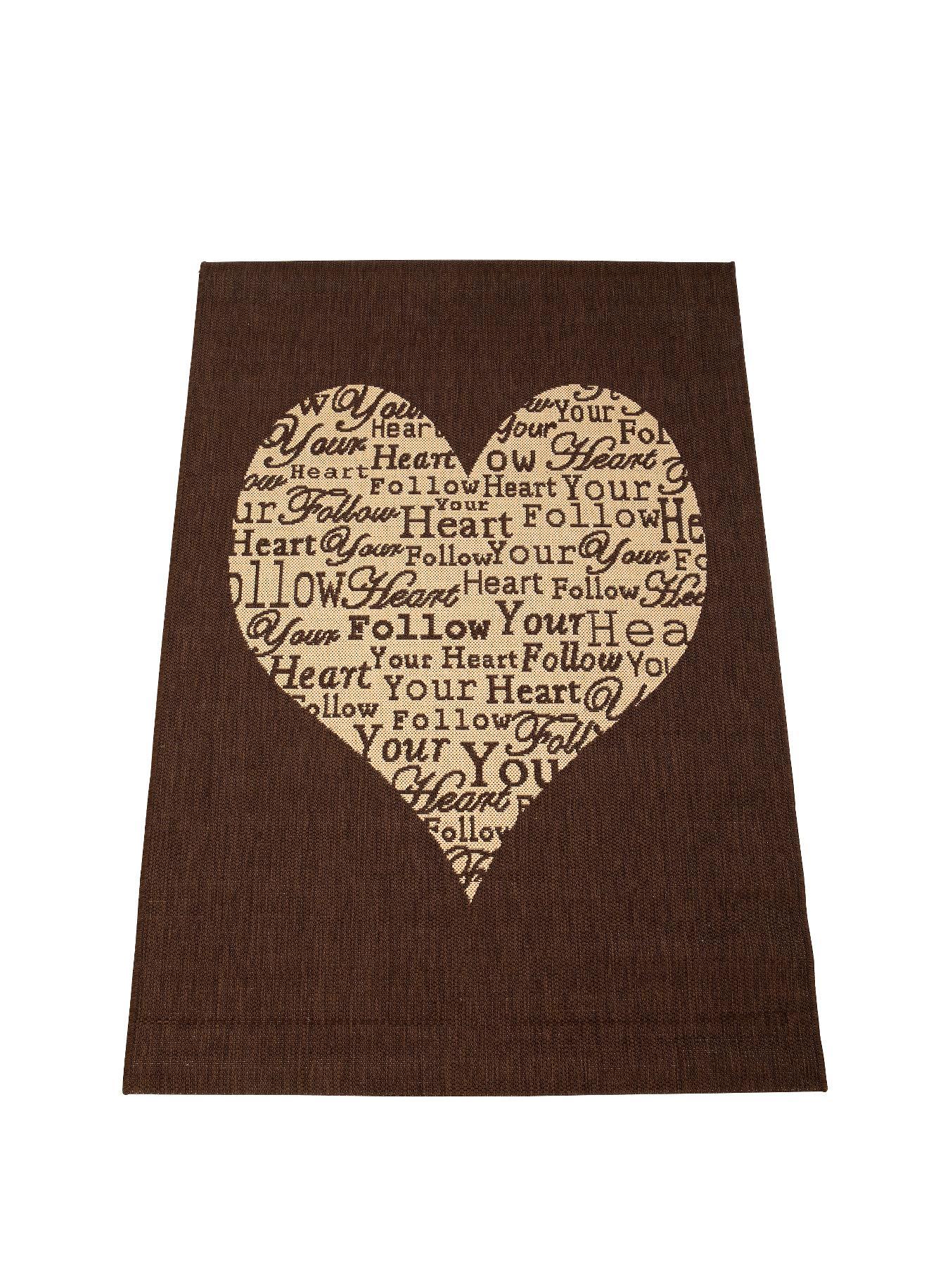 Heart Flatweave Rug RedTaupeChocolate