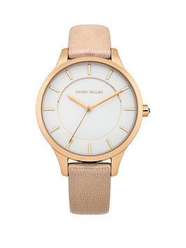 Karen Millen White Dial Cream Leather Strap Ladies Watch