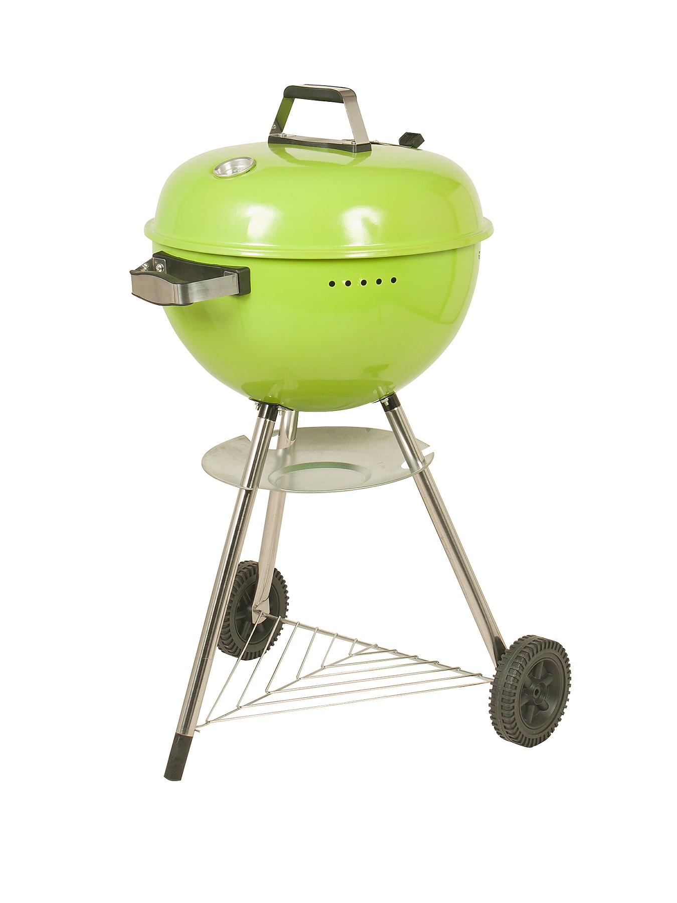 Deluxe Charcoal Kettle BBQ - Green, Green at Littlewoods