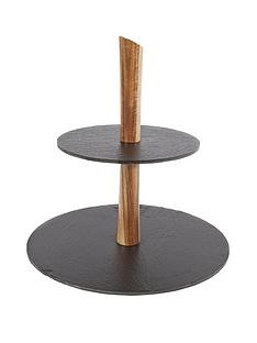 acacia-2-tier-cake-tray-with-slate-plates