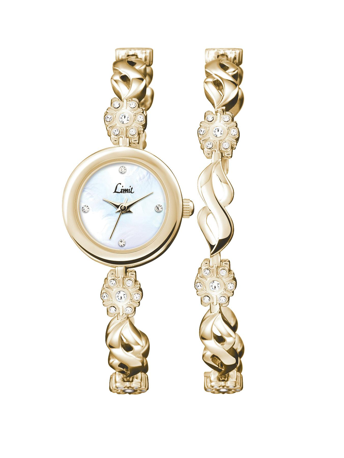 Gold Tone Stone Set Ladies Watch and Matching Bracelet Gift Set at Littlewoods