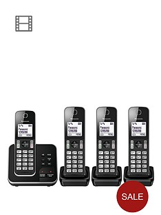 panasonic-kx-tgd324eb-cordless-telephone-with-answering-machine-and-nuisance-call-block-quad-pack-black
