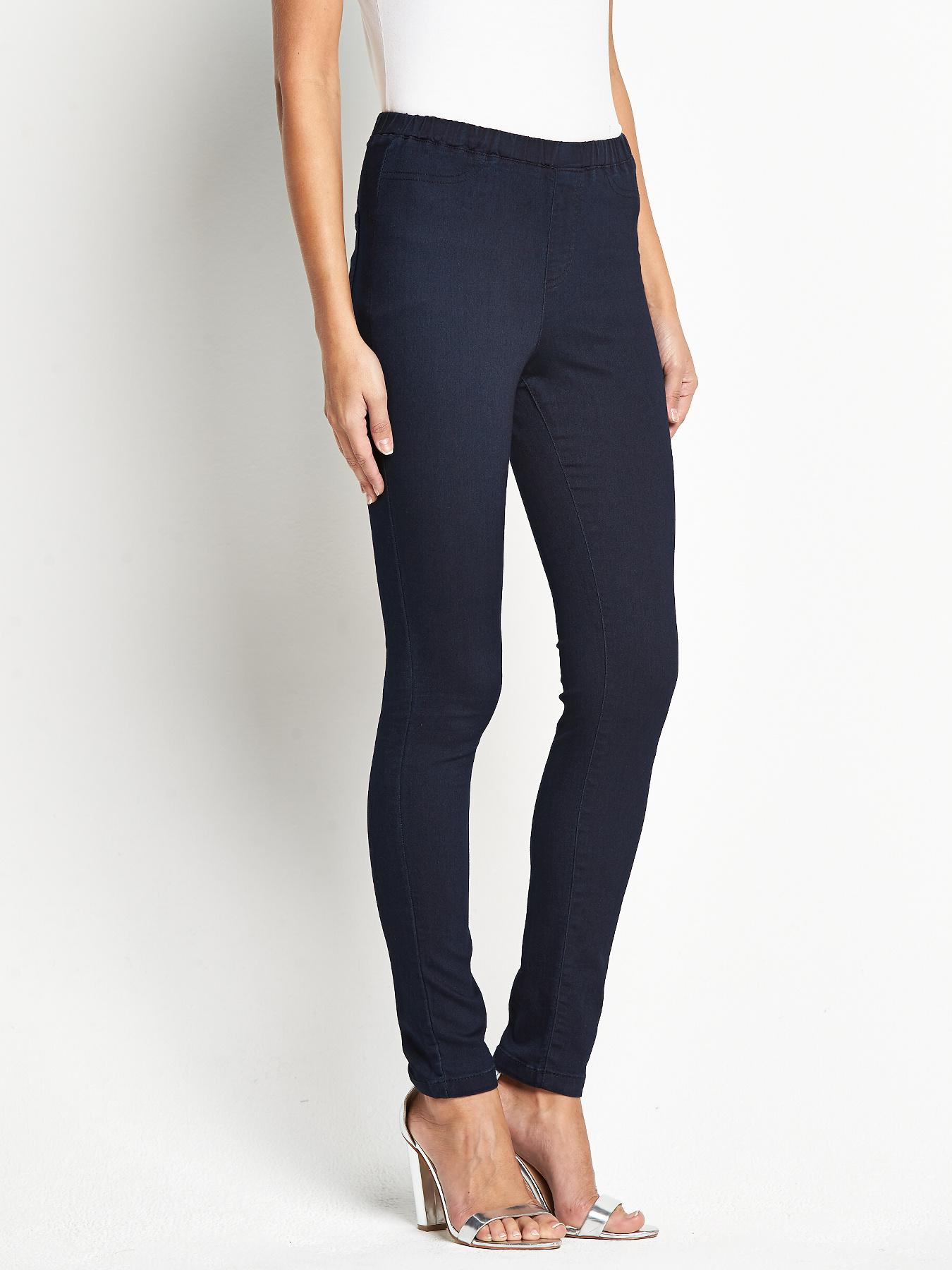 High Rise Denim Jeggings, Indigo,Black