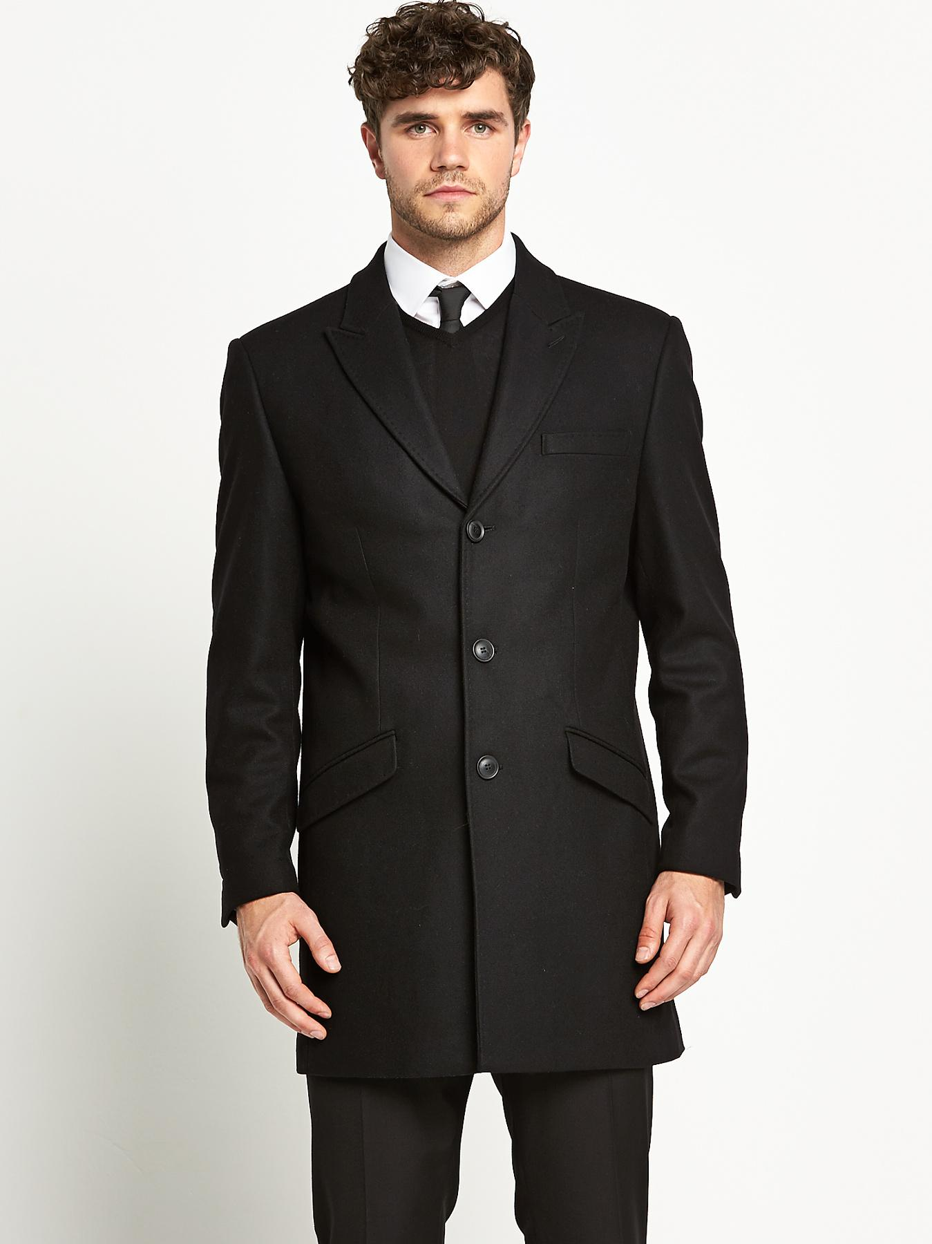 Mens Single Breasted Tailored Coat, Black