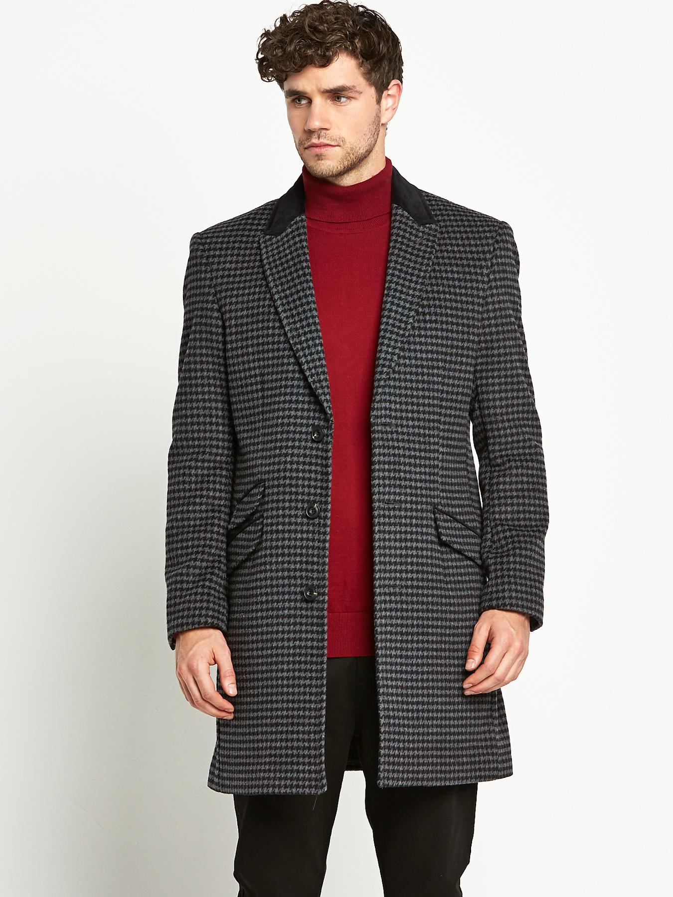 Mens Check Overcoat, Grey
