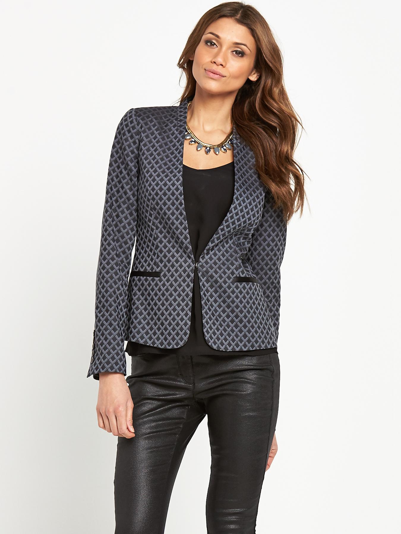 Geometric Jacquard Jacket, Black