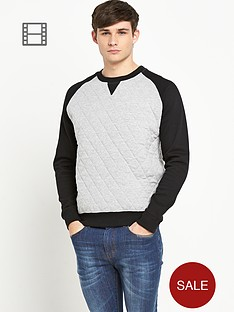 bellfield-mens-quilted-crew-neck-jumper