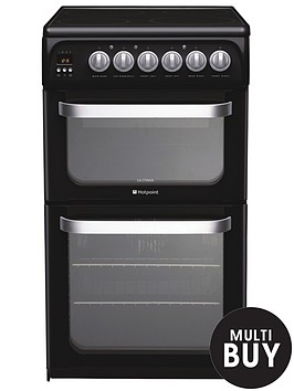 hotpoint-hue52k-50cm-double-oven-electric-cooker-black