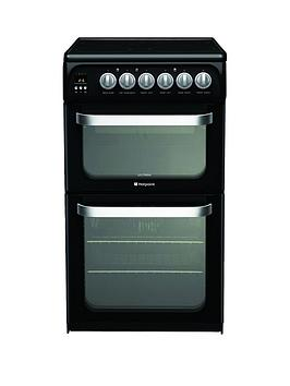 Hotpoint Hue52K 50Cm Double Oven Electric Cooker With Ceramic Hob  Black
